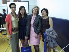 Left to right: Infant Toddler Graduates: Alba Calautti, Tammy Mak and Effie Yee with Paula Glasgow